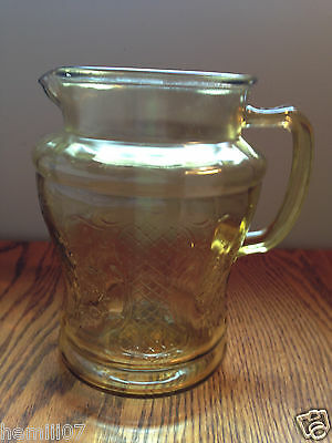 Federal Glass Co. Amber Normandie/Bouquet and Lattice Pitcher 1933-1940