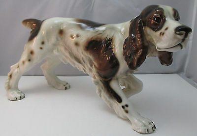 Vintage Ceramic English Spaniel Setter Hunting Dog Figurine Made In Austria **