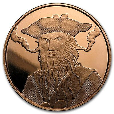 20-1 Oz Copper Coins *blackbeard* Edward Teach Pirate Coin Anonymous Mint 1-100