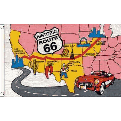 Route 66 Flag 5 x 3 FT - USA United States Of America Highway Road Map Banner