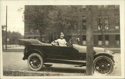 Pretty Woman in Early Car FORD or WHITE??? c1910 Real Photo Postcard