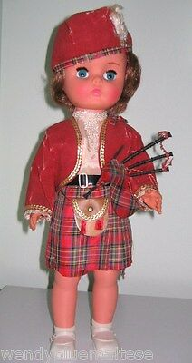 Hard Plastic Doll Made in England Scottish Costume & Bagpipes Circa 1960-70's