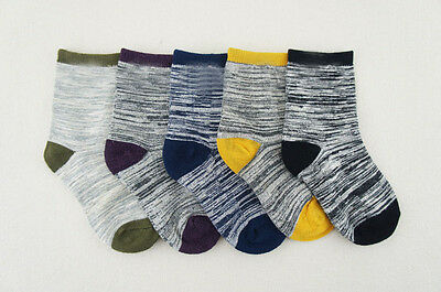 5 Pairs of Mixed colors boys retro combed cotton socks