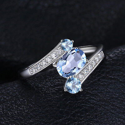 JewelryPalace 925 Sterling Silver 1.1ct Natural Blue Topaz  Anniversary Ring