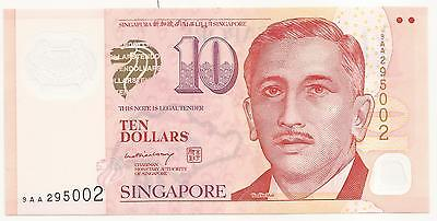 SINGAPORE 10 DOLLARS P-48a ND(2005) ISSUE UNC SERIE 9AA PLASTIC