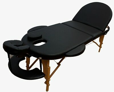 Portable Oval Massage Table Reiki Couch 3-Section Black