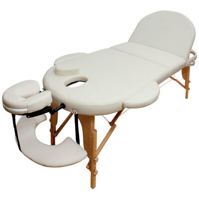 Portable Oval Massage Table Reiki Couch 3-Section Cream