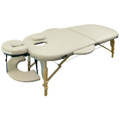 Portable Oval Massage Table - Couch Reiki Table Beauty - cream