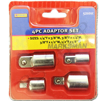 "4PC Wrench Adapter Socket Set Converter Reducer Garage Tools Hand 1/4"" to Fx3/8"""