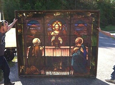 Large Antique 2 Piece Church Stained Glass Windows