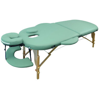 Portable Oval Massage Table Reiki Couch 2-Section Green