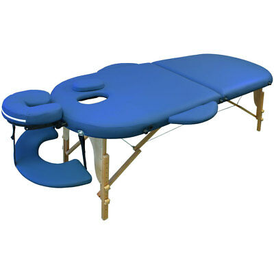 Portable Oval Massage Table Reiki Couch Beauty - Blue