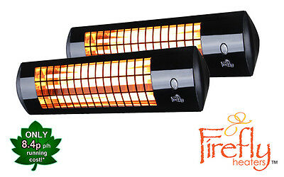 2 Firefly 1.8kW Wall Mounted Patio Heater Electric Garden Winter Garden Outdoor
