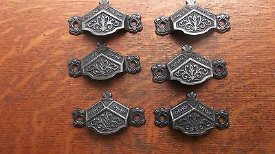 Six Antique Fancy Iron Victorian Drawer Handles or Pulls 1885 Patented