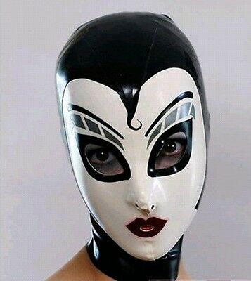 100% Latex Rubber Gummi Hood Mask .48mm Zip black/white Catsuit Bodysuit Party