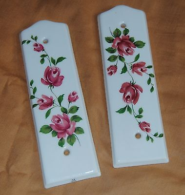 Two porcelain J M Limoges door push plate Finger Plate Door Hardware Pink Roses