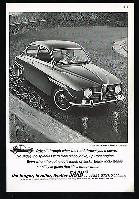 1965 Saab Front Wheel Drive Car Photo Vintage Print Price Ad