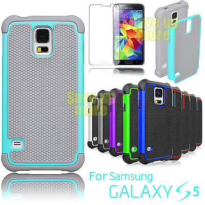 Armor Rubber Impact PC Defender Hard Case Cover For Samsung Galaxy S5 S V I9600