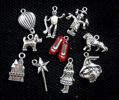 10 Wizard of Oz Assorted Silver Tone Charms