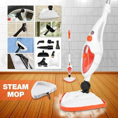 10 in 1 Steam Mop Cleaning Cleaner Steamer Floor Carpet Handheld 1300W Orange