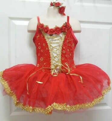 NWT Gold Edged Short Tutu Ballet costume Red Velvet Lacing Roses  Hdpc incl $60