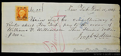Obsolete Bank Check New York Union Trust Company 1869 Handwritten W/ Stamp.
