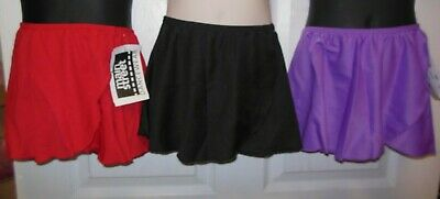 NWT GIRLS  Crepe Mock Wrap Skirt Child sizes Ballet Dance pullup classwear COLOR