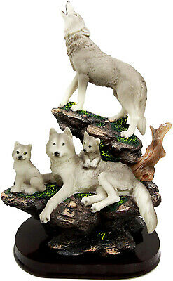 Full Moon Howling Alpha Wolf & Family Pack On Rock Figurine Timberwolves Decor