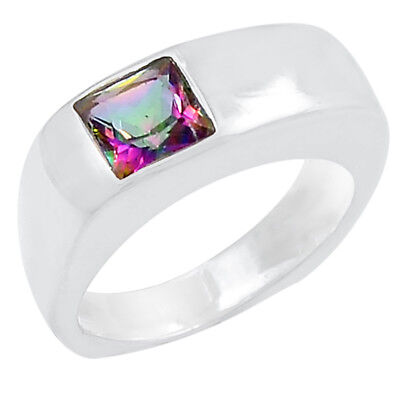 1.1cts Rainbow Topaz 925 Sterling Silver Ring Jewelry s.7 R5186MY-7