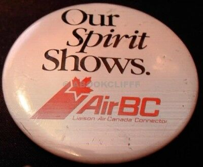 """AIR BC AIRLINES BUTTON BLACK / RED on WHITE """"OUR SPIRIT SHOWS"""" 2 1/4 """""""