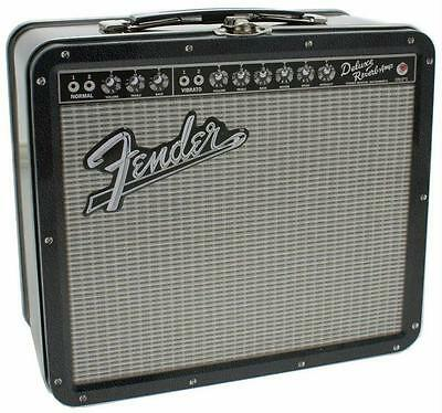 FENDER Deluxe Reverb Amplifier Guitar Amp Tin Metal Retro Lunchbox Musician Gift