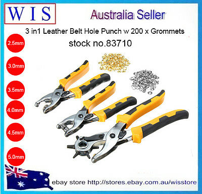 3pcs Punch Plier Leather Hole Punch Hand Pliers Belt Holes Punches w 100xEyelets