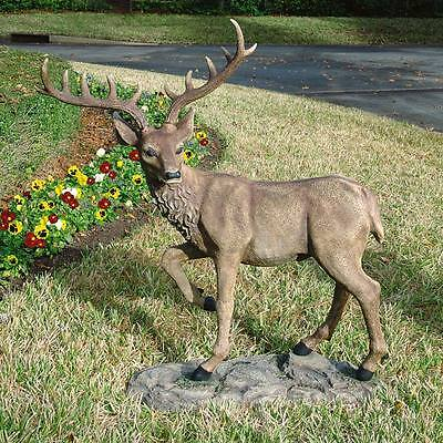 "Design Toscano Exclusive 41"" Hand Painted Black Forest Garden Deer Sculpture"