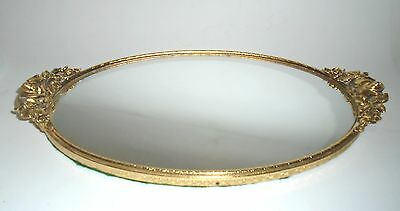 """13"""" x 7-1/4"""" Vanity Mirror Tray in Ormolu Frame with Gold Roses Decoration."""