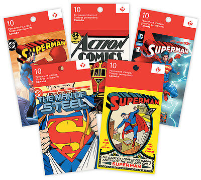 SUPERMAN 75TH ANNIV. COMPLETE SET OF 5 COMIC BOOKLETS of STAMPS -CANADA 2013 MNH