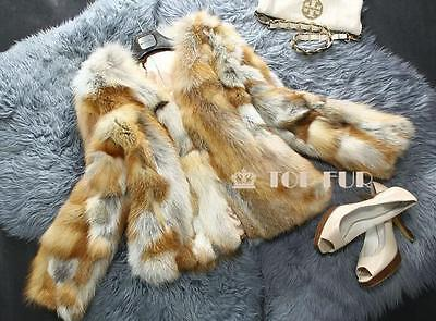 100%Real Genuine Red Fox Fur Jacket Coat Garment Ladies Clothing Vintage VCollar