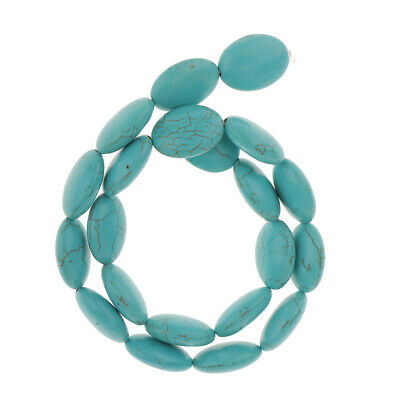15x20mm Flat Oval Natural Turquoise Gemstone Beads 15in