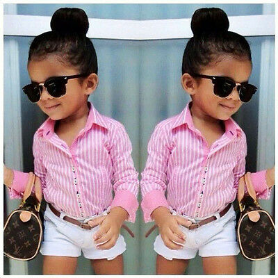 3Pcs Baby Girls Pink Shirt + White Pants + Belt Set Kids Summer Clothes Outfits
