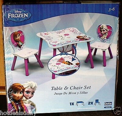 Disney Frozen Anna Elsa Table & Chair Set Center Storage Juego De Mesa Y Sillas