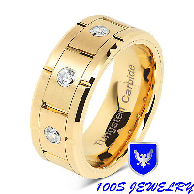 Gold Tungsten Wedding Band Diamond Inlay Brushed Center Comfort Fit Mens Ring