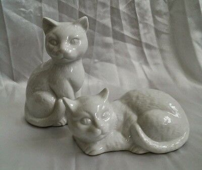 Set of 2 white porcelain cat figurine lot with Made in Japan