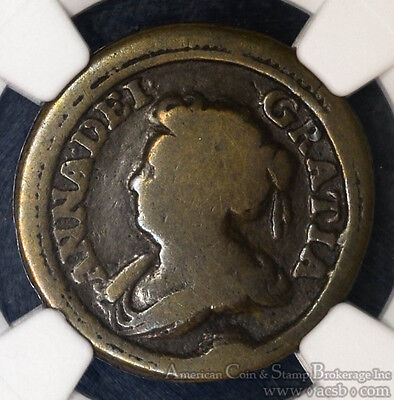 Great Britain Pattern Farthing 1713 VG8 NGC copper Queen Anne Extremely Rare.