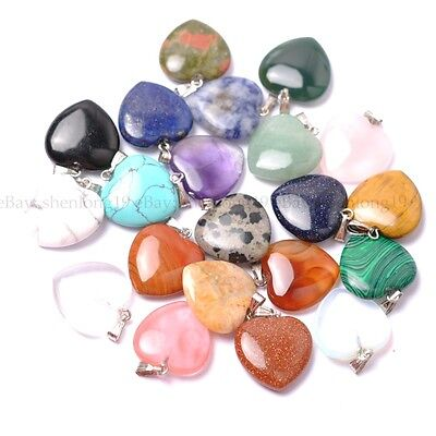 Natural Gemstones Hexagonal heart-shaped Pendant Beads Necklace Earrings 20MM