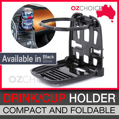 2*Drink Cup Can Holder for Car AC Vent Compact Foldable in Black and Silver