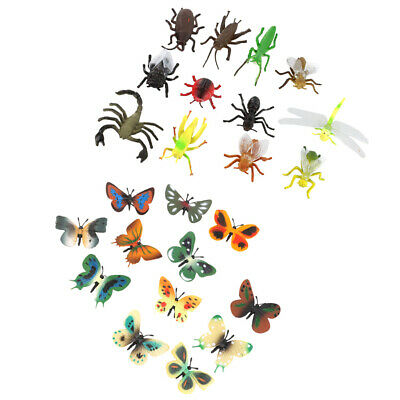 12 Plastic Butterfly + 12 Assorted Bugs Insect Animal Model Figure Kid Favor Toy