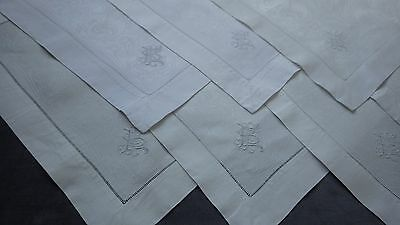 RARE Set of 18  Damask Linen  Art Nouveau DARUMA MASK Motif NAPKINS Monogram EPS