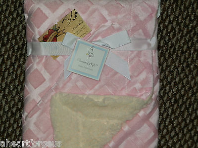 Baby Blanket Elements Style PINK Sculptured Diamond Shapes Velour Micro-Sherpa