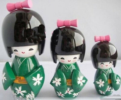 New 3Pcs Oriental Japanese Kokeshi wooden Dolls Girls Lady's Gift Green