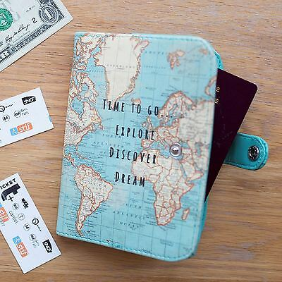 Vintage Time To Go World Map Atlas Uk Passport Cover Holder Travel Holiday Gift