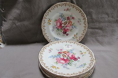 Pair Crown Staffordshire ENGLAND'S BOUQUET Bread & Butter Plates, Free Ship USA